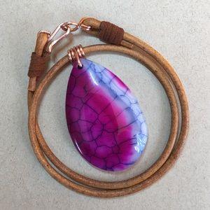 """Jewelry - Beautiful Purple 16""""Agate Leather Choker Necklace"""